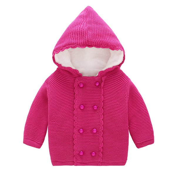 0914c1b97ca504 Fashion 2018 Children Sweater Girls For Winter Hooded Button Warm Girls  Children Sweaters Girl Clothing Bottoming