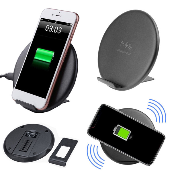 QI Wireless Charger Universal Pad Dual Coil Fast Charging Mat Stand Holder Braceket 7.5W/10W for iPhone X 8 Samsung S8 S9