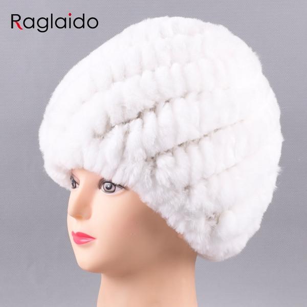 Raglaido Russo Cappelli Invernali per le Donne Reale Rabbit Fur Berretti 2017 Nuove signore di modo a maglia cappuccio di pelliccia genuina LQ11234 D18110102