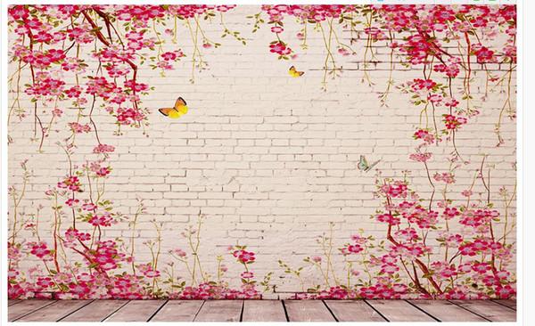 Personalizzato 3d Photo Wall paper Pastorale originale vite rosa piastrelle sfondo muro Home Decor Living Room Wall Covering