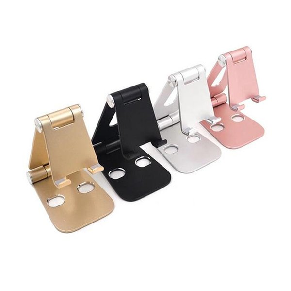 Universal Adjustable Phone Holder Aluminum Metal Foldable Mobile Phone Tablet Desk Holder Stand for iPad iPhone with retail package
