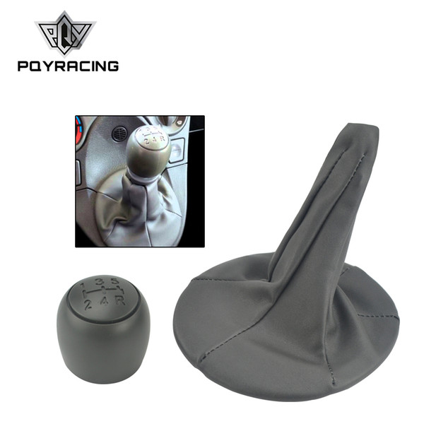top popular PQY - 5 Speed Car Gear Shift Knob with PU Leather Gear Shift Shifter Gaiter Boot Cover for FIAT PANDA 2003-2012 PQY-SBC22 2021