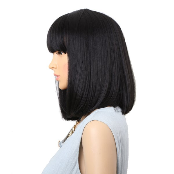 14inch Natural Wig Straight Black Synthetic Wigs With Bangs For Women Medium Length Hair Bob Wig Heat Resistant bobo Hairstyle Cosplay wigs