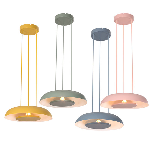 Modern simple LED pendant lights colorful macaron metal droplight pink yellow green blue round for kids room foyer bedroom lighting fixture