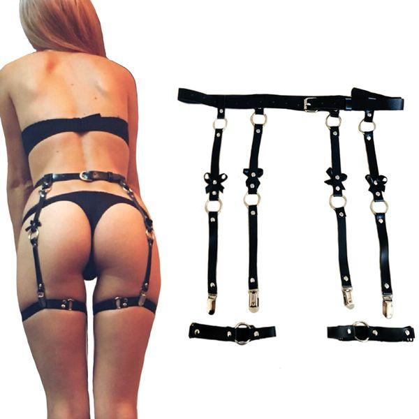 Femmes sexy en cuir taille ceinture jarretelles pour bas Bow Punk Costume fait à la main en métal O-ronde taille ceinture 4 accessoires de bretelles