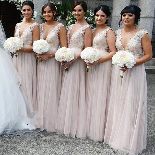 Tiefer V-Ausschnitt Lange Brautjungfern Kleider 2018 Cap mit kurzen Ärmeln Baby Rosa Chiffon Backless Spitze Abschlussball Formale Kleid Kleider für Frauen Mädchen Günstige