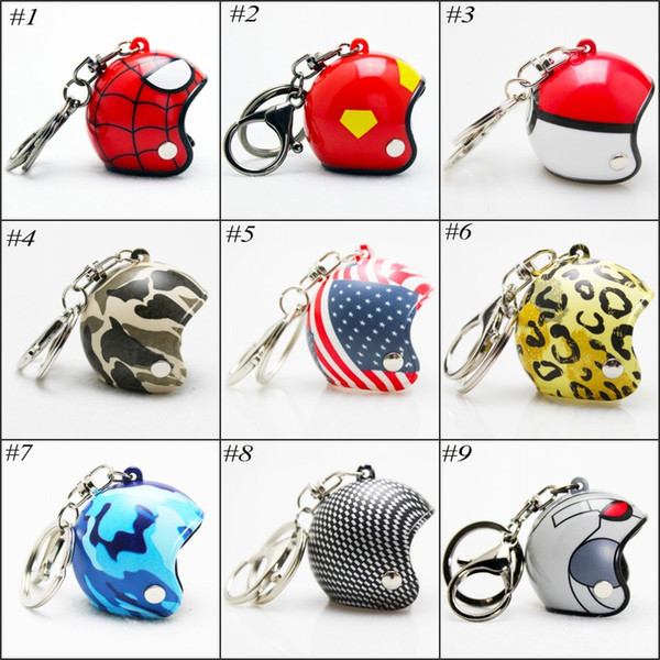 Motorcycle Helmet Keychain Safety Helmet Hat Car Key chain Knight Hat Car Protective Cap Plastic Key Chain 15 styles