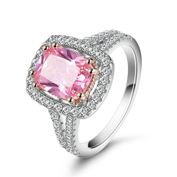 Europe and America Retro Pink Ring Mosaic Full Diamond 925 Sterling Silver Jewelry Classic Got Engaged Ring Crystal Gem Diamond Alloy Women