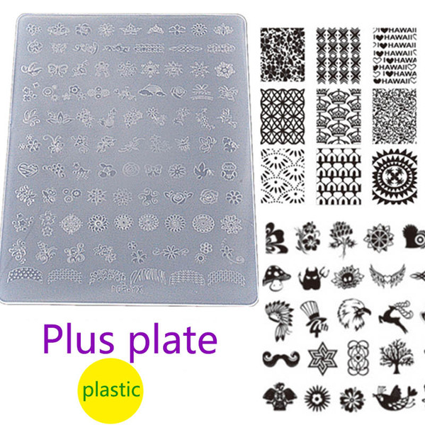 New Nail Art Stamping Plate Plastic Plus 14*10cm Stamp Bird Animal Flower Cartoon Transparent Stamper Plates Manicure Gift 2017