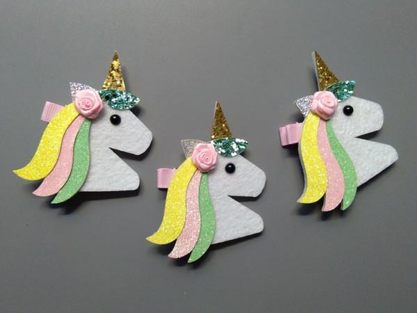Boutique 20pcs Fashion Cute Felt Floral Unicorn Girls Hairpins Kawaii Solid Flower Glitter Uncorn Horse Hair Clips Headware Accessories