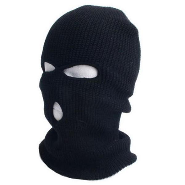 New Full Ski Mask Three 3 Hole Balaclava Knit Hat Winter Snow Beanie Stretch Cap Free Shipping