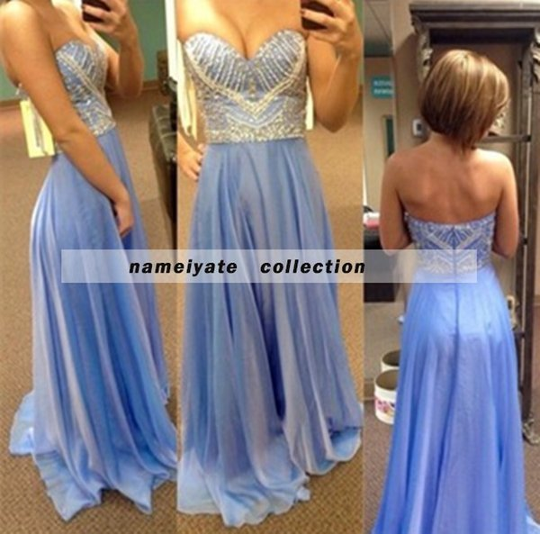 Evening Dresses Prom Dress Sky Blue Beaded A Line Zipper Sweep Train/Brush Train Strapless Backless