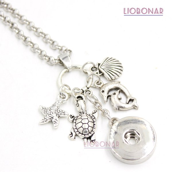 Wholesale DIY Personalized Gift 18mm Snap Jewelry Sealife Ocean Necklace Turtle Dolphin Pendant Snap Necklace for women gift