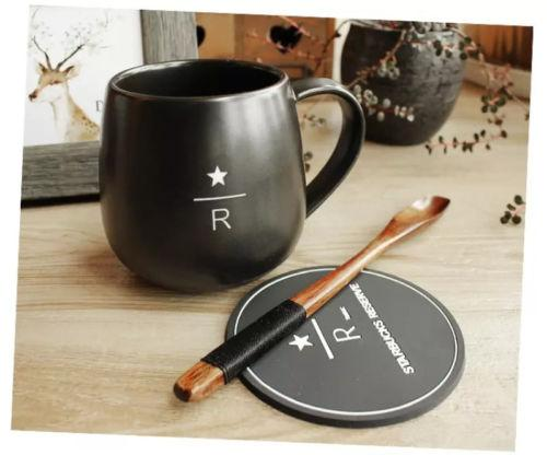 """Starbucks Reserve coffee cup Black Matte carving """"R"""" ceramic pot belly Mug 16OZ with cover spoon coaster gift set"""