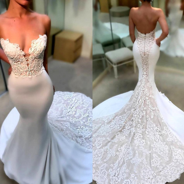 2018 Sexy Simple Sweetheart Bodice Mermaid Wedding Dresses 3D Floral Appliques Lace Court Train Open Back Fishtail Bridal Gowns Vestidos