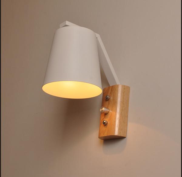 Acheter Nordic Chevet Applique Moderne Brève Applique Murale E27 Lampe D éclairage De Chambre Avec Interrupteur Luminaire En Bois Luminaires