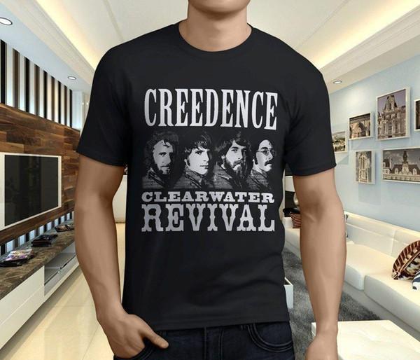New Cool CREEDENCE CLEARWATER REVIVAL Maglietta da uomo Rock Band T-shirt nera taglia S-3XL