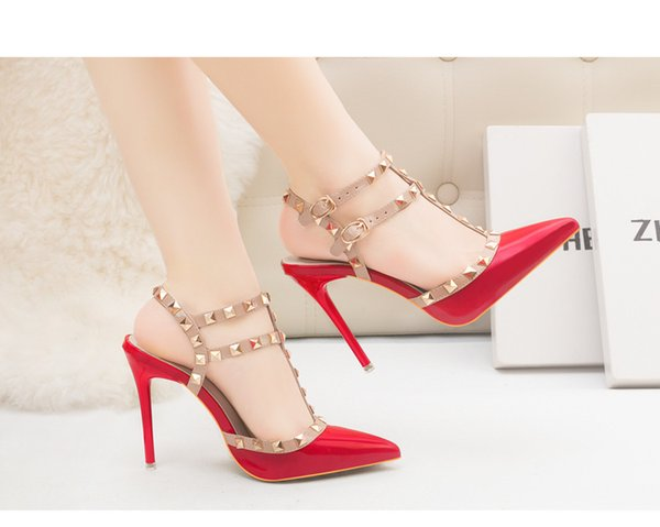 Designer women high heels party fashion rivets girls sexy pointed shoes Dance shoes wedding shoes Double straps sandals