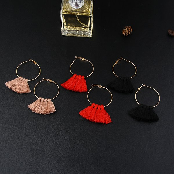 whole saleE072 Fashion Handmade Tassel Hoop Earrings For Women Bohemia Ethnic Black Red Khaki Tassel Statement Earrings Gift Dropshipping