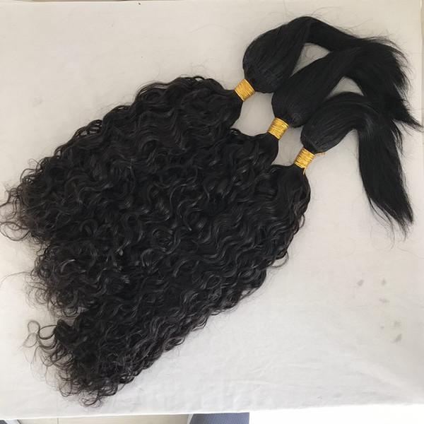 Water Wave & Straight Braid in Human Hair Extensions 3 Bundles Peruvian Virgin Hair Weaves 8-28 inch FDshine