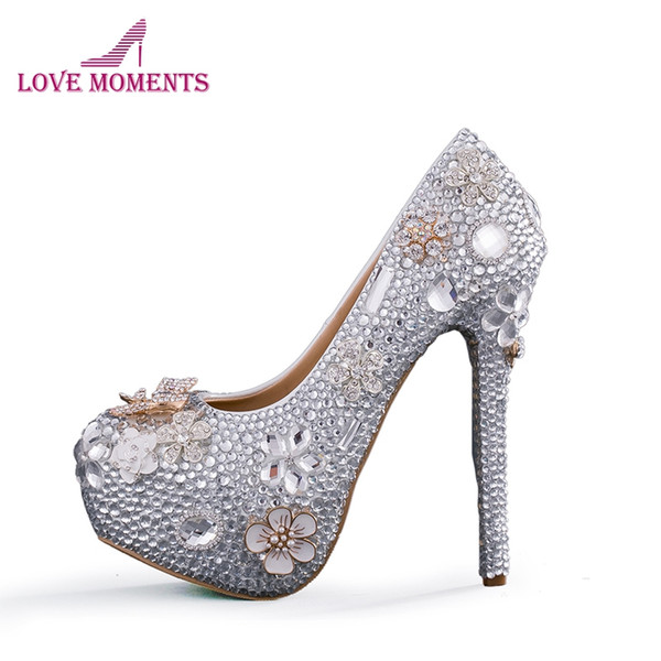 Silver Rhinestone Cinderella Prom High Heels Bride Wedding Pumps Adult Ceremony Prom Shoes Beautiful Bridesmaid Shoes Shoes For Men Womens Shoes From