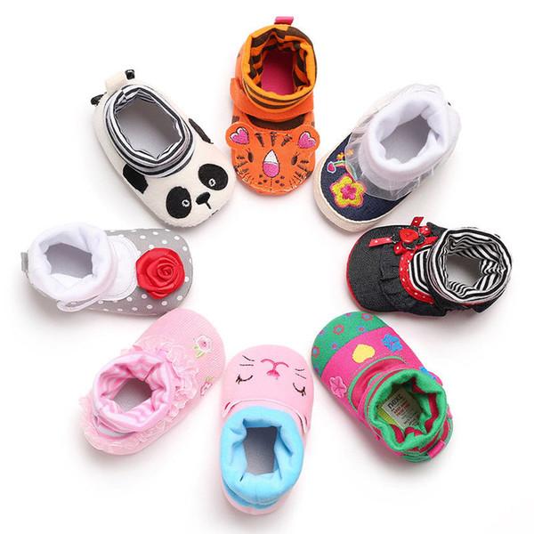 Crianças Infantil Baby Sock Sapatos Infantis Meninos Meninas Macio Dos Desenhos Animados Anti-Skid Bebê Botas Meia Bonito Padrão Animal Chinelo Sapatos