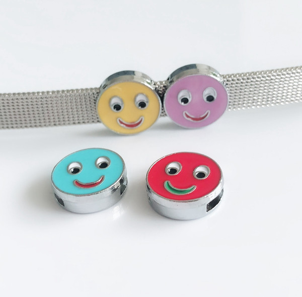 10pcs 8MM Mixed color Enamel Smile Face Round Slide Charms Letters DIY Accessories Fit 8mm Collar Belts Bracelets