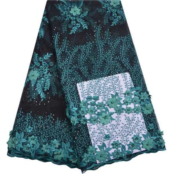 Güzel Son Afrika Dantel Kumaş 2018 Yeşil 3d çiçek boncuklu Nakış Dantel Kumaş Gelin Düğün Fransız Örgü Dantel FabricA1255