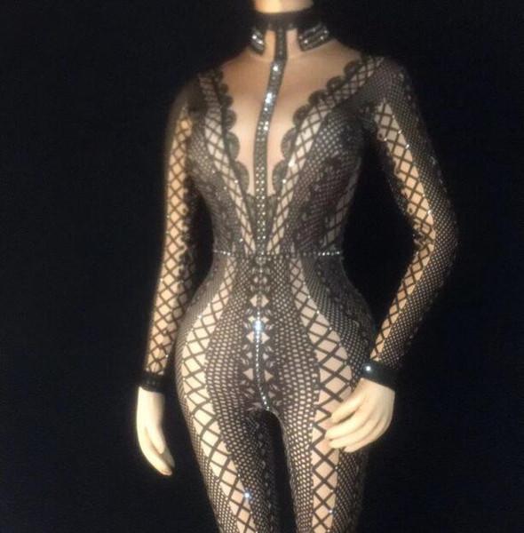 Novo 3 Cores Strass Impresso Sexy Macacão Mulheres Estiramento de uma peça Bodysuit Boate Partido Singer Dance Show Stage Wear