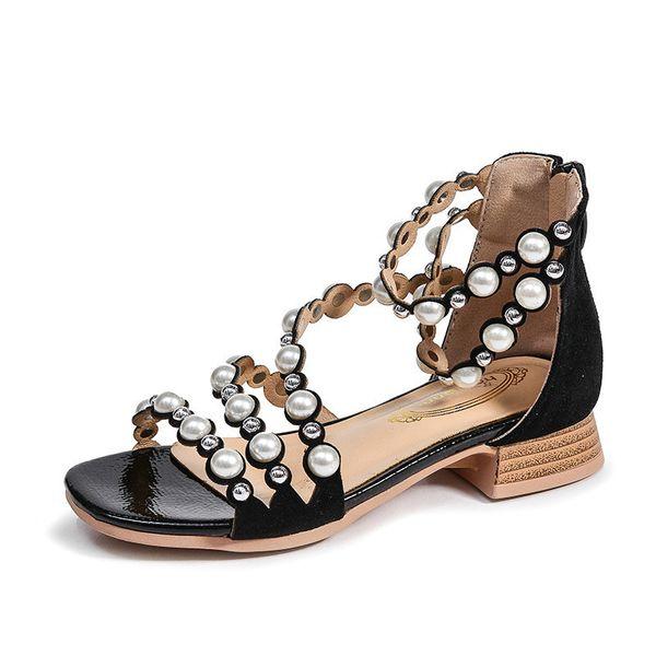 2018 Summer New Baby Girl Fashion Gladiator Kids Sandals For Girls Children Pu Leather Sweet Flats Kid Brand Black Soft Princess Shoes