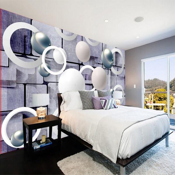 Acheter Personnalisé 3D Papier Peint Papiers Peints Mur Décor Art Moderne  De Mode Blanc Sphère Cercle 3D Perspective Papier Peint Salon Chambre ...