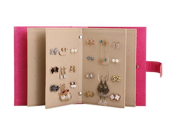 Collana di orecchini da donna Collana di gioielli da libro Cuoio in pelle Organizzatori di trucco Moda portatile Display Box Organizer Accessori