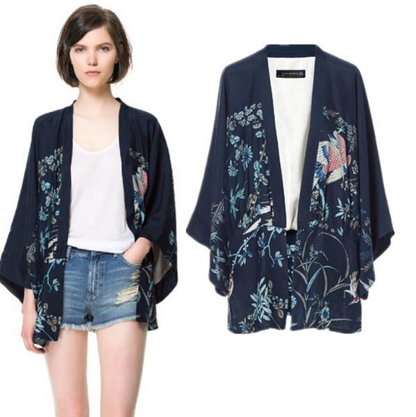 Phoenix Printing Kimono Bat Sleeve Cardigan Lady Kimono Jacket Women Cape Outerwear