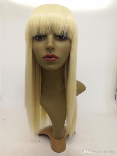 Parrucca sintetica ad alta temperatura di stile celebrità parrucca dorata lunga capelli lisci frangia parrucca anteriore in pizzo parrucca 22 pollici per le donne nere parrucche piene