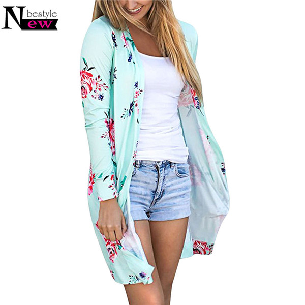 Fashion Casual 2018 Basic Coat Women Kimono Jacket Floral Cardigans Jackets Long Sleeve Loose Coat Tops Tee Tunic Mujer Femme XL