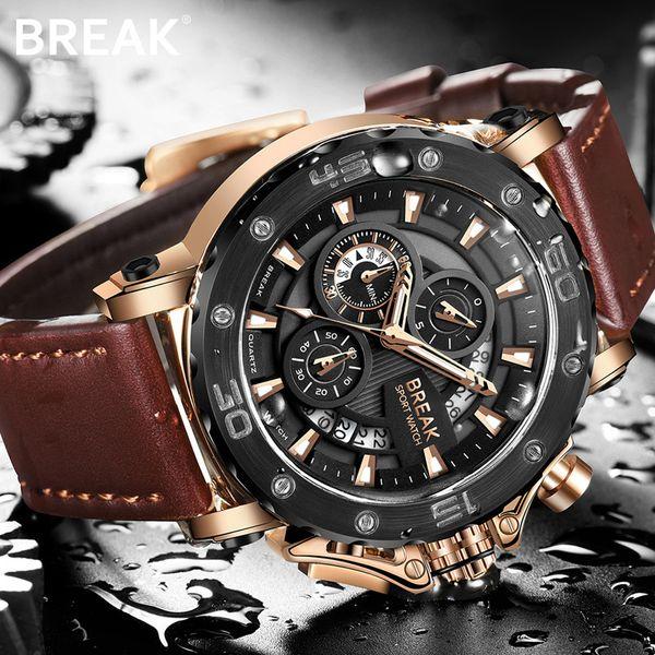 BREAK Men Watch Quartz Wrist Watches Men Luxury Brand Gold Military Genuine Leather Watch for men relogio masculino kol saati Y1892111