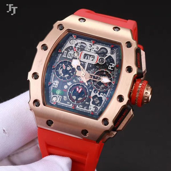 2018 New 43mm top brand European and American men's watches new 011 mineral tempered glass automatic machinery natural rubber strap