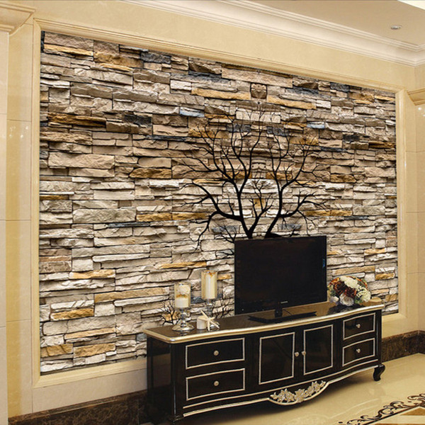 best selling Custom Photo Wallpaper 3D Stone Wall Trunk Wallpaper Living Room Sofa TV Background Wall Murals Wallpaper Papel De Parede 3D