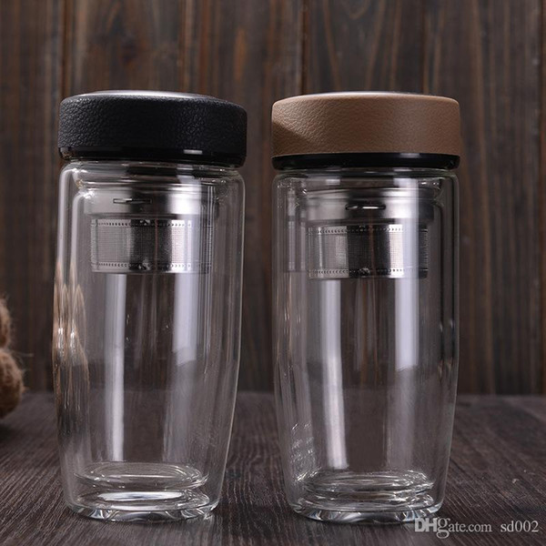 Round Glass Cup With Tea Infuser Filter Water Bottles High Temperature Resistant Tumbler For Office Worker 24 8wy BB