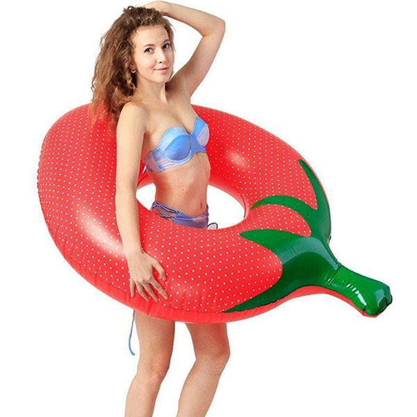 Inflatable Swimming Ring Strawberry Circle Air Mattress Pool Floating Island Water Fun Boia Piscina Party Toys For Adult Child