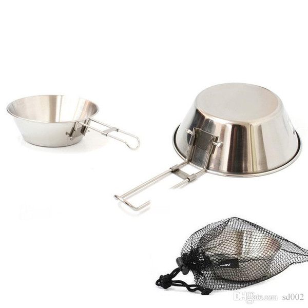 Practical Folding Bowls Stainless Steel Camping Picnic Bowl Multi Function Safe Sturdy Easy To Clean Cups Outdoor Portable Cooker 9 8gt ii