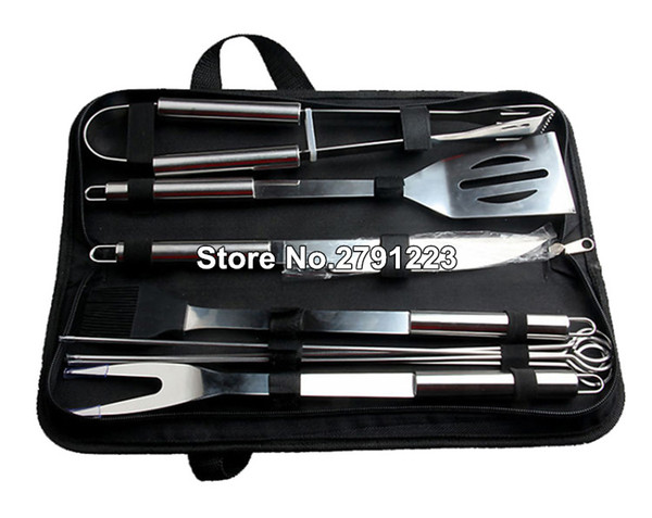 9pcs/Set Stainless Steel BBQ Utensil Grill Set Tools Outdoor Cooking BBQ Kit with Carry Bag Camping Barbecue Accessories Tools