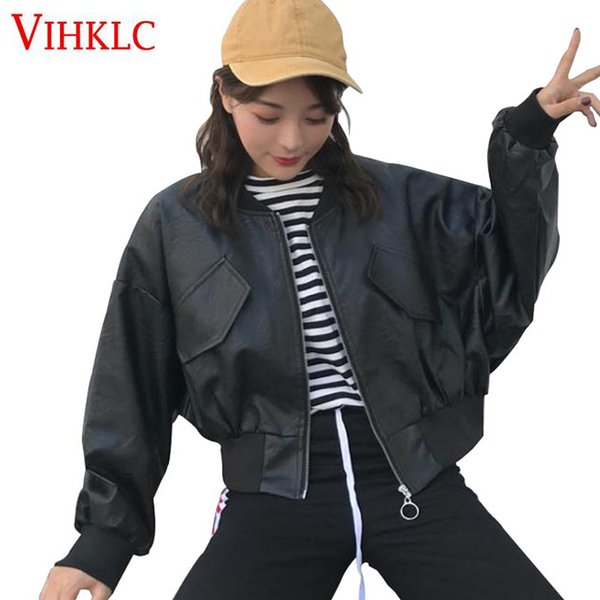 Autumn Women Leather Jacket Short Solid Color PU Leather Zipper Long Sleeved Jackets Korean Version Handsome Motorcycle Tide Z56