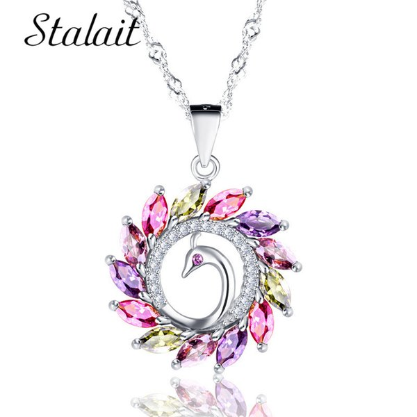 Rose Gold /Silver Color Peacock Necklaces & Pendants for Woman Rhinestone Shiny Colorful Crystal and Austrian Rhinestone Drop Ne