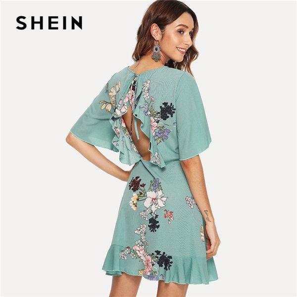 023de861b4f9da SHEIN Green Vacation Tribal Bohemian Beach Bell Floral Print Flounce Sleeve  Ruffle Hem Botanical Dress Summer