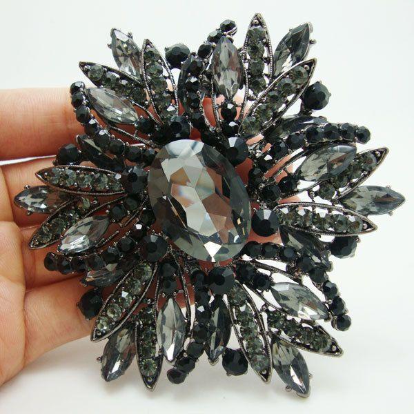 brooch pins for women Vintage Style Black Brooch Pin Jewelry Black Flower Large Rhinestone Crystal Party Jewelry Brooches Pins For Woman