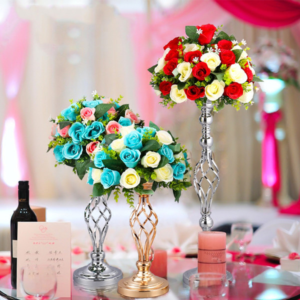 home crafts metal vase hotel wedding table centerpices decoration iron flower vase flower holder T-Stage Road Lead photo props metal stand