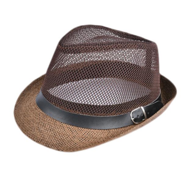 Summer Straw Bucket Hat For Male Jazz Visor Cap For Gentleman Dad Hat Mesh Flat Homburg Beach