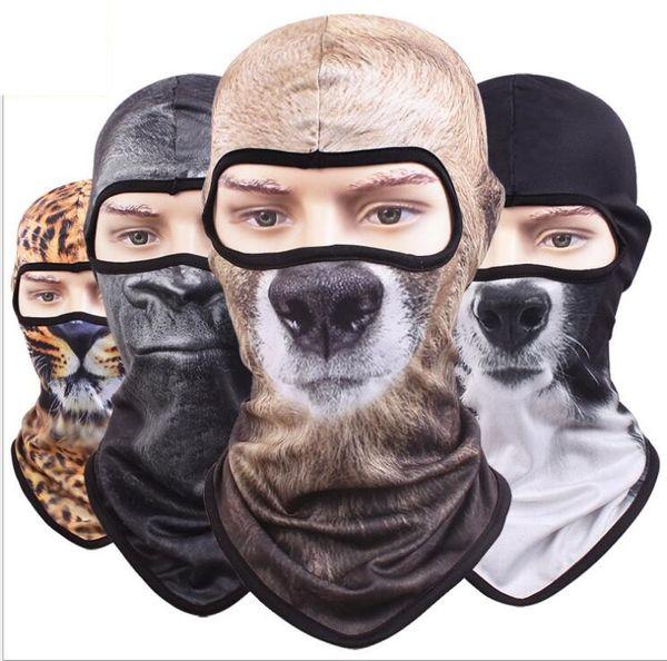 Hot 3D Animal Active Sport all'aria aperta Bicicletta Ciclismo Moto Maschere Sci Cappuccio Cappello Velo Passamontagna UV Protect Maschera a pieno facciale