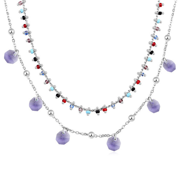 2 layers crystal charm necklace Made with Crystals from Swarovski wedding jewelry necklace for women fashion gift 2018